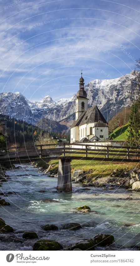 Sky Nature Water Clouds Forest Mountain Religion and faith Autumn Meadow Snow Stone Rock Ice Church Beautiful weather Bridge