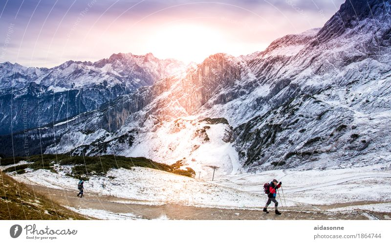 Hiking through the Alps Nature Landscape Sun Sunrise Sunset Sunlight Beautiful weather Peak Contentment Joie de vivre (Vitality) Attentive Caution Serene