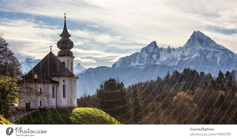 Church Maria Gern Landscape Sky Clouds Autumn Ice Frost Snow Meadow Forest Hill Rock Alps Mountain Peak Snowcapped peak Village Sign Religion and faith