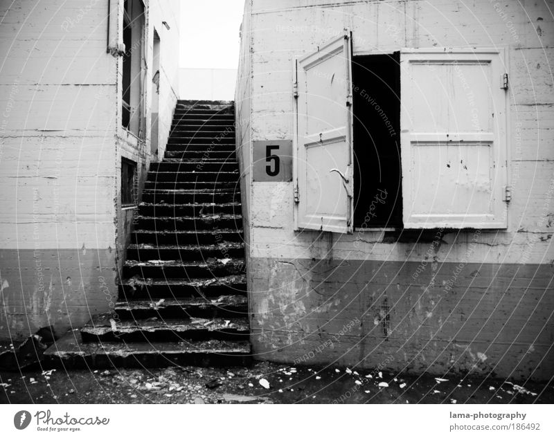 City Wall (building) Window Wall (barrier) Building Architecture Door Stairs Gloomy Digits and numbers Living or residing Transience Derelict 5 Past