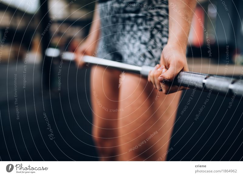 Close-Up of girl doing workout with barbell in Crossfit Gym Woman Youth (Young adults) Hand Adults Life Lifestyle Sports Healthy Leisure and hobbies Power