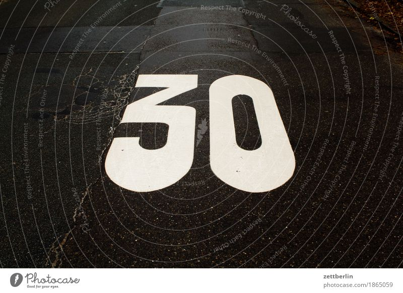 30 Asphalt Speed Speed limit Jubilee Slowly Play street Street Copy Space Transport Lanes & trails Digits and numbers 30 mph zone Road safety training