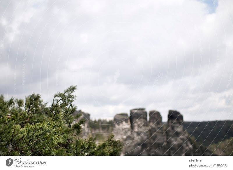 as old as the hills Environment Nature Landscape Clouds Rock Mountain Elbsandstone mountains Elbsandstein region Canyon Old Colour photo Exterior shot Deserted