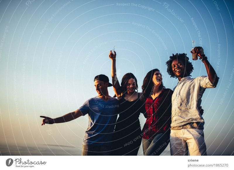 Multi ethnic group of friends dancing on music festival Youth (Young adults) Young woman Joy Emotions Lifestyle Freedom Feasts & Celebrations Party Group Together Friendship Music Action Birthday Dance Smiling