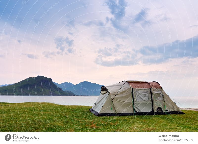 Camping on the ocean coast. Vacation in Norway, Lofoten Sky Nature Vacation & Travel Summer Green Water Ocean Landscape Clouds Joy Beach Mountain Meadow