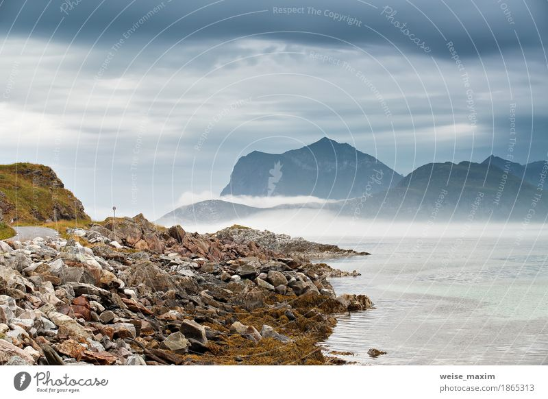 Norway coast. Ocean beach. Vacation in Norway Vacation & Travel Tourism Camping Summer Beach Island Mountain Nature Landscape Sky Clouds Storm Fog Rain Rock