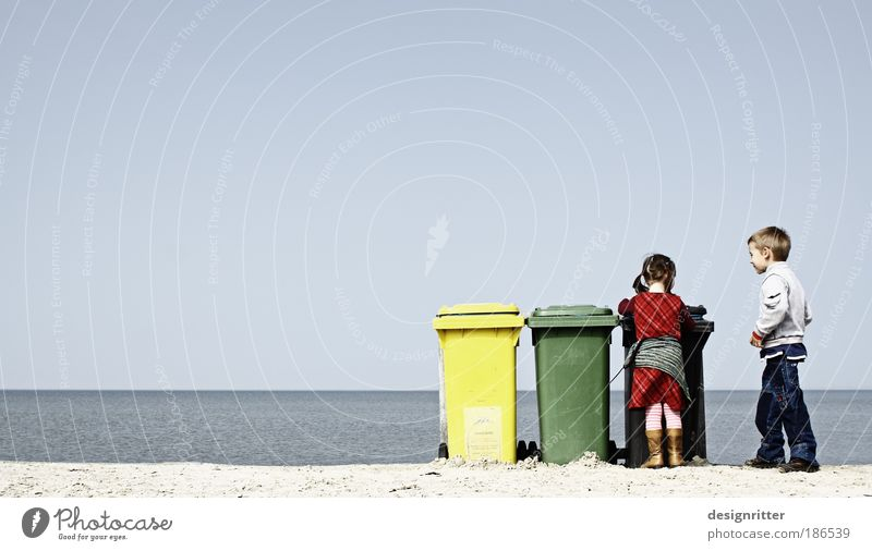 Human being Child Girl Arrangement Sky Ocean Summer Beach Vacation & Travel Far-off places Recycling Boy (child) Freedom Tourism Clean Trash