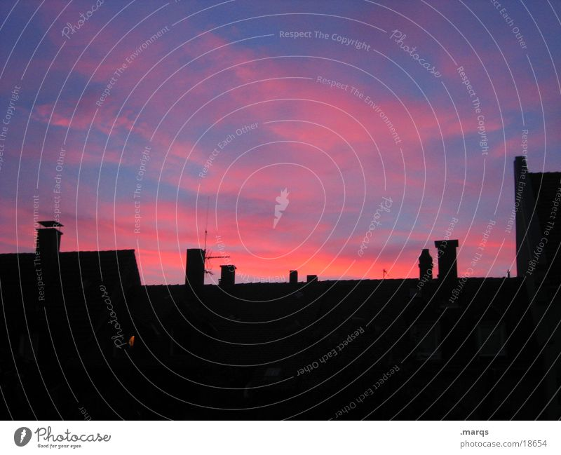 Dawn Twilight Silhouette House (Residential Structure) Pink Black Dark Living or residing Evening Dusk Structures and shapes Shadow Blue Chimney Bright Colours