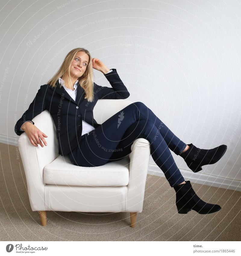 . Armchair Room Feminine 1 Human being Shirt Pants Jacket Boots Blonde Long-haired Smiling Looking Sit Funny Beautiful Joy Happy Happiness Contentment