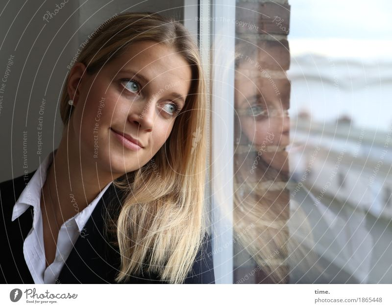 . Room Feminine 1 Human being Wall (barrier) Wall (building) Window Shirt Jacket Jewellery Earring Blonde Long-haired Observe Relaxation Smiling Looking