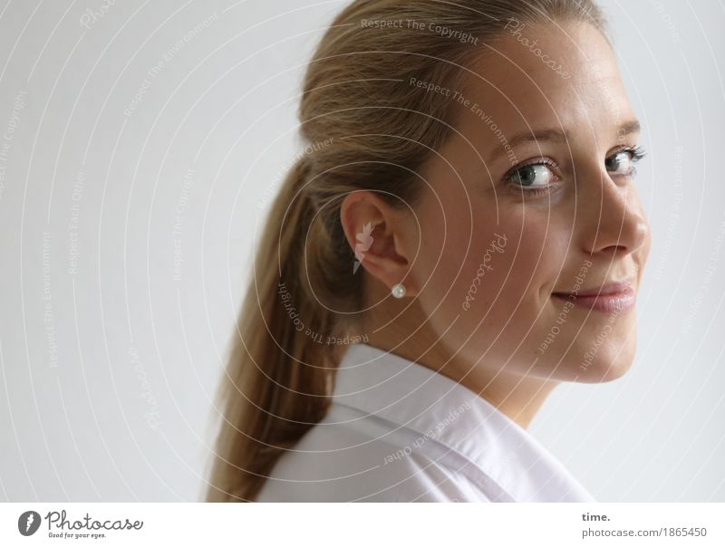 . Feminine 1 Human being Shirt Jewellery Earring Blonde Long-haired Braids Observe Smiling Looking Beautiful Happy Contentment Joie de vivre (Vitality) Optimism