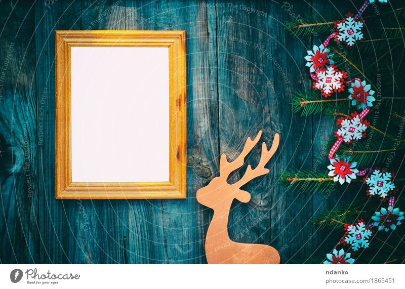 empty picture frame on a gray wooden surface Christmas & Advent Wood Art Bright Decoration Gold Retro Photography Toys New Year's Eve Pine Horizontal Snowflake