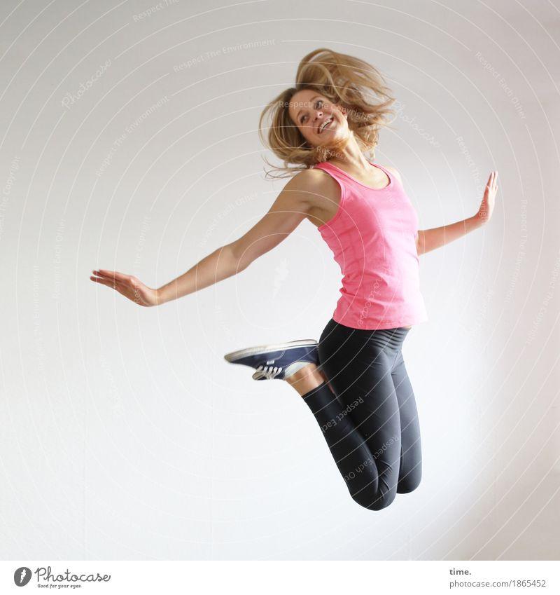 Human being Beautiful Joy Life Movement Sports Feminine Healthy Laughter Jump Wild Elegant Power Blonde Creativity Joie de vivre (Vitality)