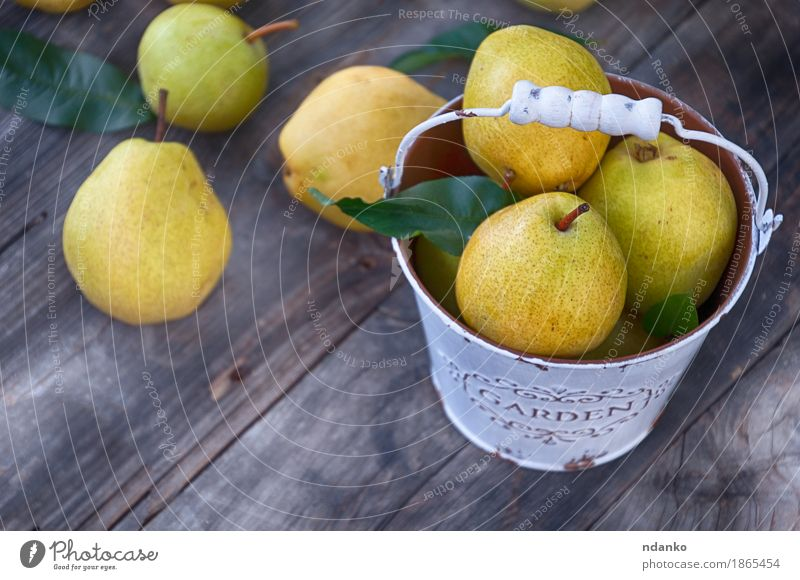 Ripe pears in a metal bucket white Nature Old Summer Green Yellow Autumn Natural Wood Gray Fruit Nutrition Fresh Retro Table Delicious Seasons