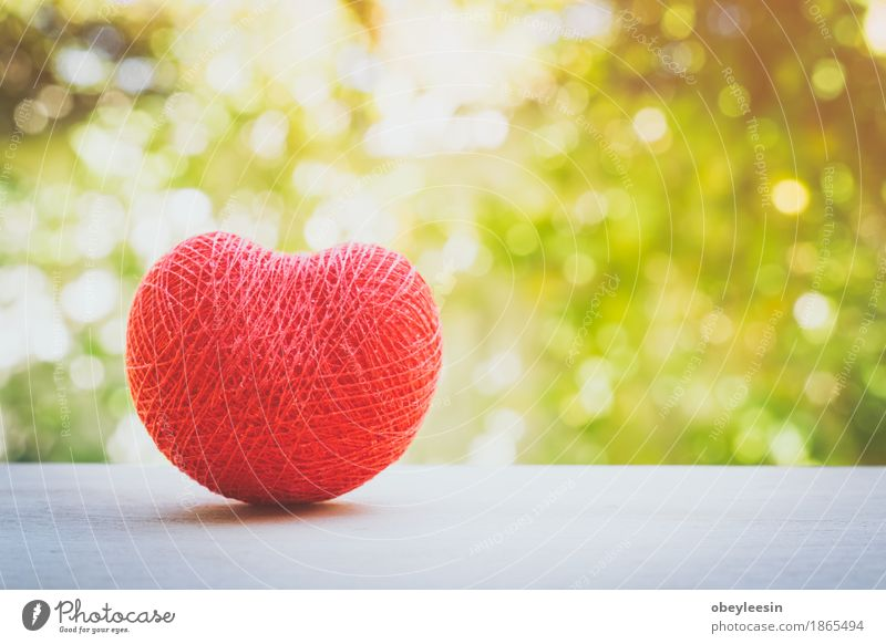 red heart of love made with string Lifestyle Style Design Joy Happy Art Artist Nature Adventure Colour photo Multicoloured Close-up Detail