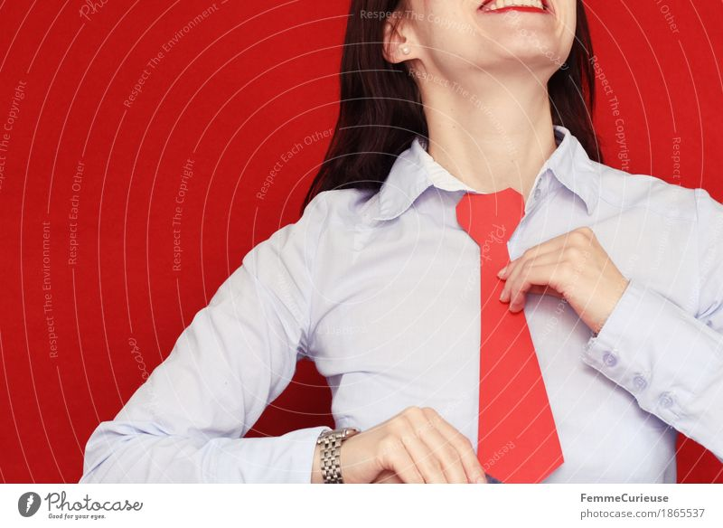 Human being Woman Youth (Young adults) Young woman Red 18 - 30 years Adults Feminine Business Clock Success Smiling Shirt Career Self-confident Business partnership