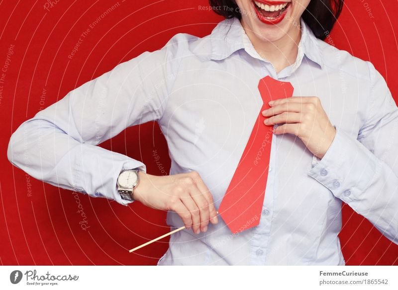 Human being Woman Youth (Young adults) Young woman Red 18 - 30 years Adults Feminine Laughter Business Office Success Shirt Career Silver Tie