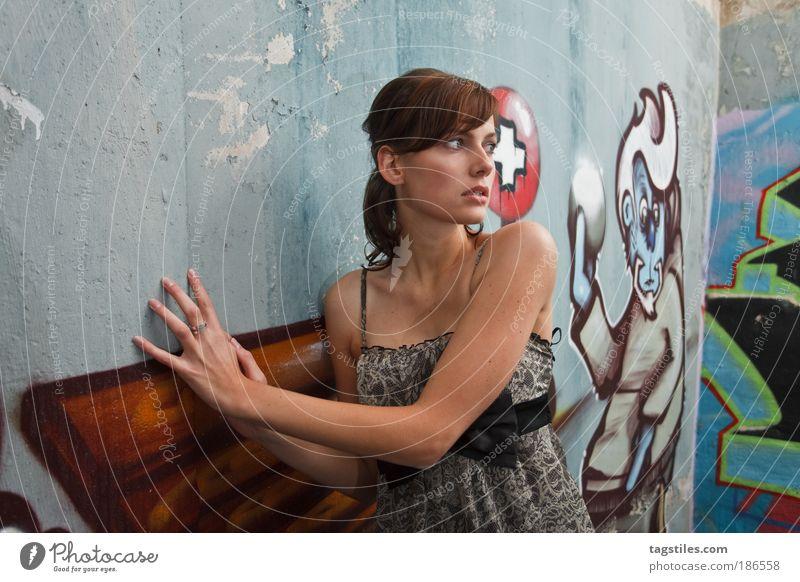 Woman Beautiful Wall (building) Graffiti Fear Dangerous Threat Dress Thin Hide Brunette Escape Captured Painted Human being Graceful