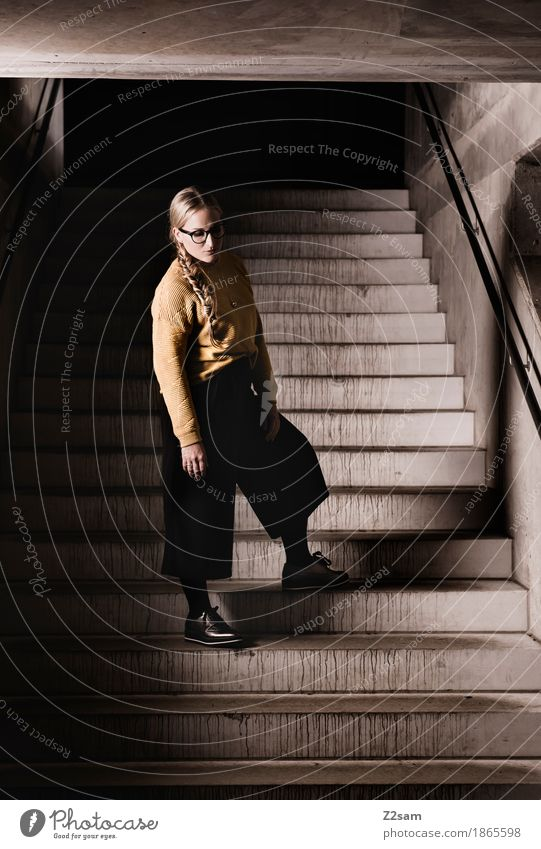 STAIRWAY TO NOTHINGNESS Feminine Young woman Youth (Young adults) 1 Human being 18 - 30 years Adults Architecture Fashion Sweater Eyeglasses Blonde Braids Stand
