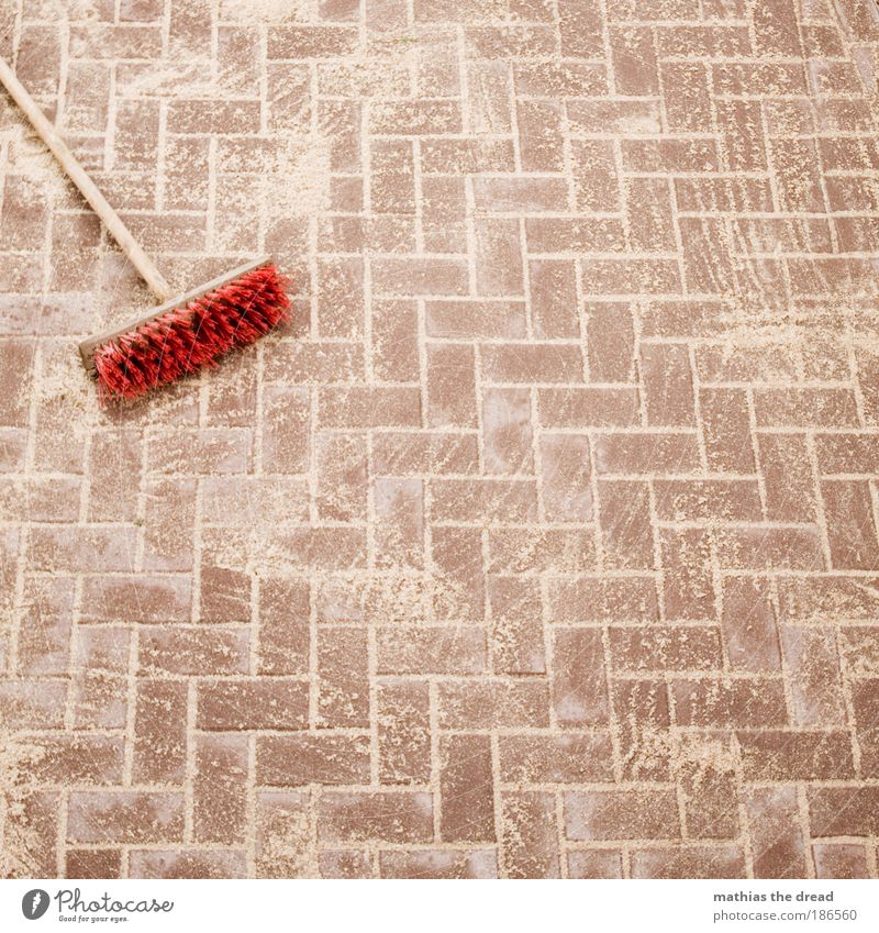 Red Cleaning Street Stone Lanes & trails Sand Line Road traffic New Construction site Clean Still Life Motionless Interlaced Paving stone Rectangle