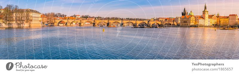 City panorama with the Vltava river in Prague Joy Vacation & Travel Tourism Trip Sightseeing City trip Sun Culture Nature Water Sky River Capital city Skyline
