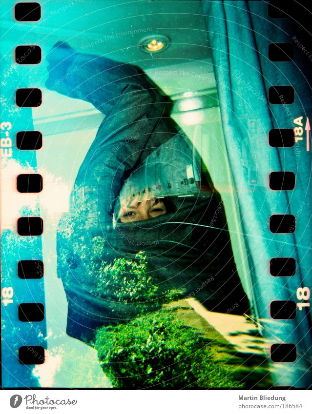 Human being Nature Blue Green White Joy Gray Wild Curiosity Joie de vivre (Vitality) Jacket Discover Clothing Double exposure Silver Holga