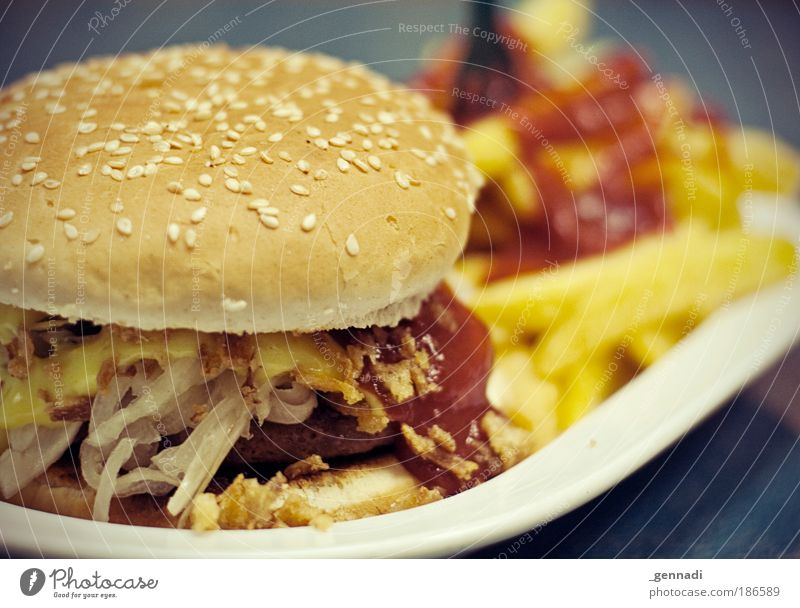 Nutrition Food Restaurant Modern Uniqueness Dish Appetite Delicious Fat Meat Fast food Unhealthy Hamburger Onion French fries Ketchup