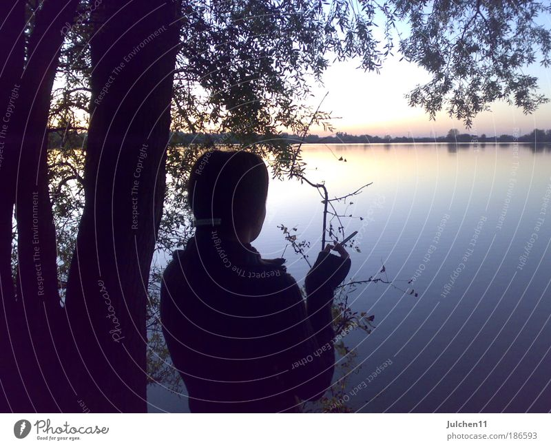 Water Calm Autumn Feminine Moody Hope Warm-heartedness Serene Lakeside Young woman Woman Modest Sunset