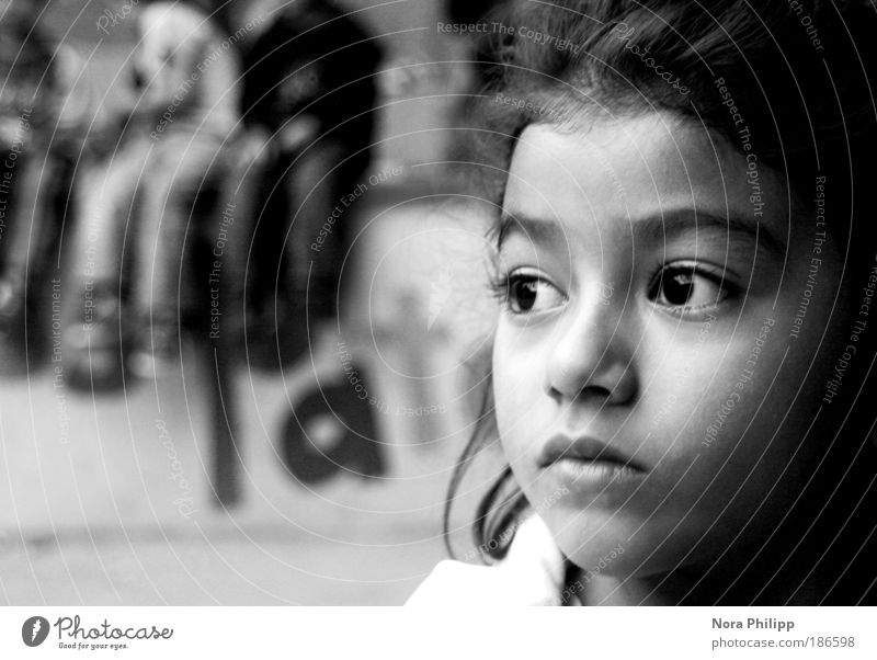 Human being Child Calm Girl Face Eyes Sadness Head Dream Infancy Poverty Nose Portrait photograph Education Longing Pain