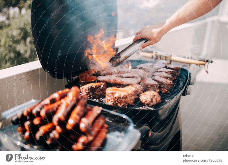 Close-up of barbecue with a lot of meat and sausages Vacation & Travel Summer Eating Lifestyle Garden Food Feasts & Celebrations Party Birthday Delicious Balcony Hot Event Appetite Home Meat
