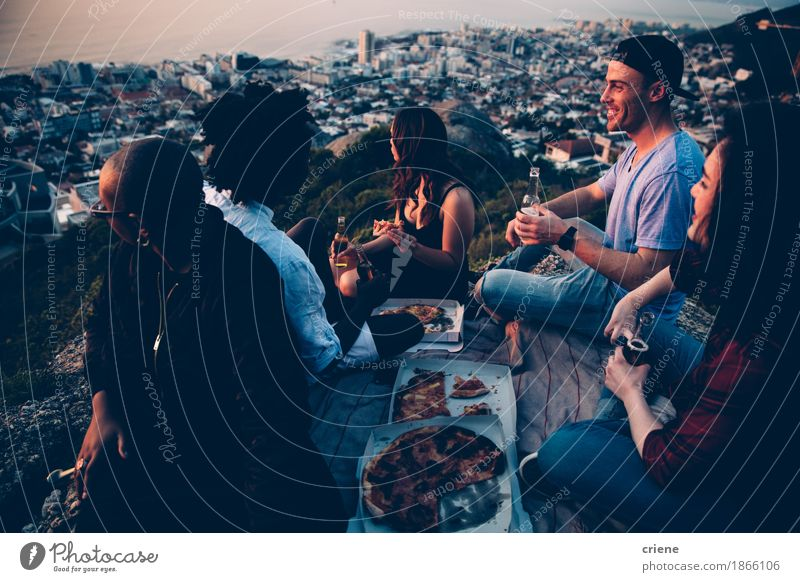 Group of young adult friends having picnic with pizza Human being Youth (Young adults) Young woman Young man Joy 18 - 30 years Adults Eating Lifestyle Food Feasts & Celebrations Party Group Couple Together Friendship
