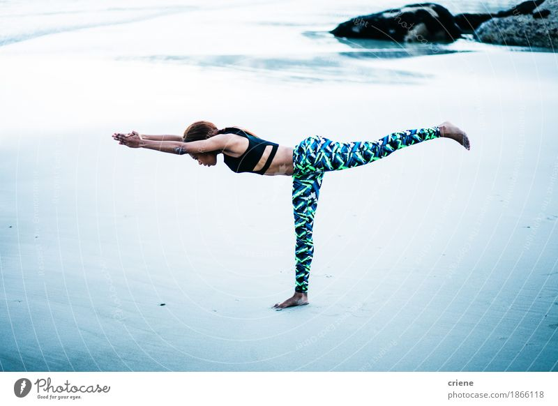 Beautiful young african women practicing yoga on beach Human being Woman Youth (Young adults) Young woman Ocean Relaxation Calm 18 - 30 years Black Adults Life