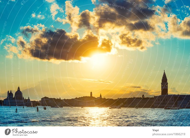 Sunset in Venice Sky Vacation & Travel Blue Summer Town Water White Sun Ocean Landscape Clouds Architecture Yellow Building Tourism Orange