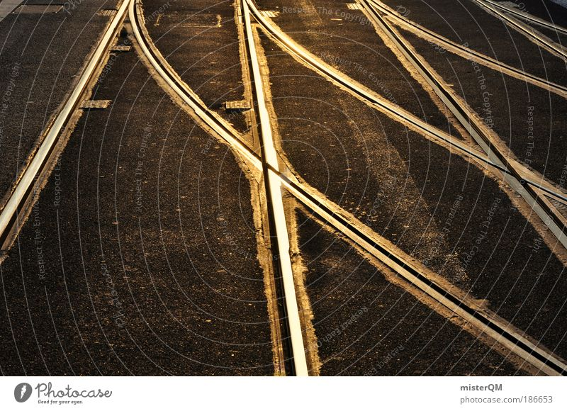 Street Lanes & trails Gold Transport Future Network Many Asphalt Railroad tracks Connection Mobility Pavement Curve Muddled Fate Tram