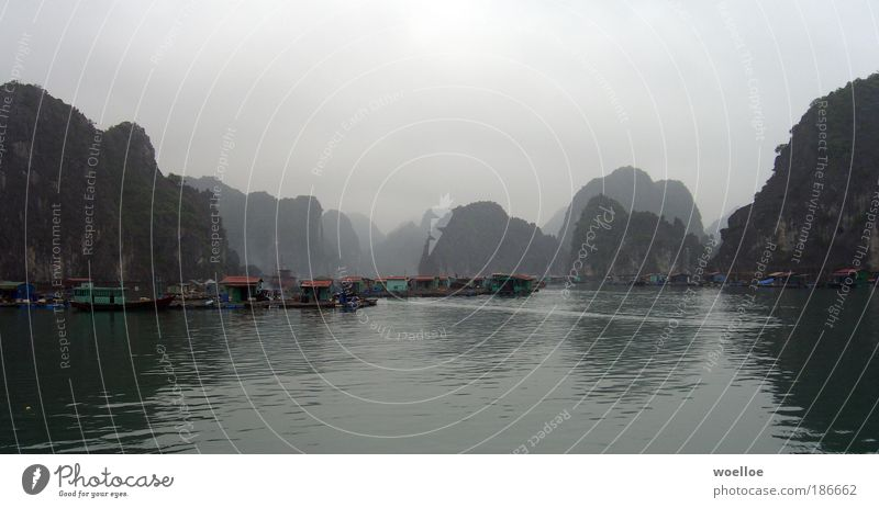 Fishing village in Halong Bay, Vietnam Vacation & Travel Ocean Island Nature Landscape Water Sky Clouds Bad weather Fog Rock Canyon Coast Gulf of Tonkin