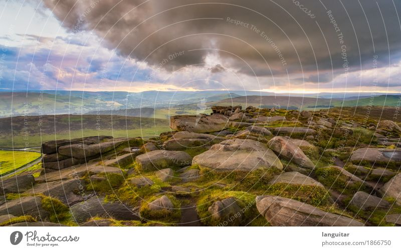 Bad weather ahead Nature Sky Clouds Storm clouds Horizon Weather Rain Hill Rock Mountain Stone Vacation & Travel Hiking Fantastic Free Green Pink Moody Dream