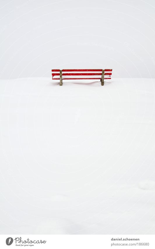 lots of space for text Snow Red White Emotions Sadness Death Loneliness Empty Calm Bench Copy Space left Copy Space right Copy Space top Copy Space bottom