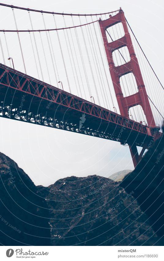 the red one. Bridge Loneliness Uniqueness Elegant Bridge railing Bridge pier Bridge construction Large San Francisco San Francisco bay Golden Gate Bridge