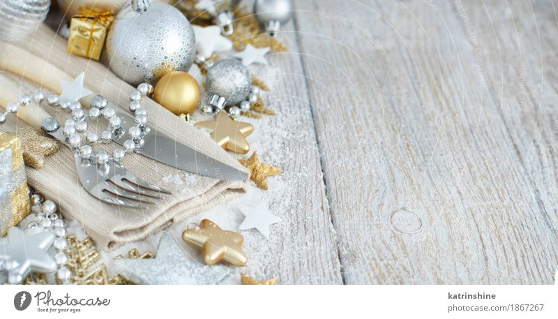 Silver and golden Christmas Table Setting Plate Cutlery Knives Fork Decoration Feasts & Celebrations Christmas & Advent New Year's Eve Ornament Exceptional Gold