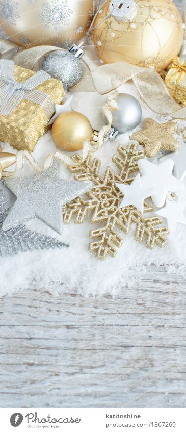 Silver and golden Christmas decorations ans gift boxes Christmas & Advent Tree Snow Gray Feasts & Celebrations Decoration Gold Elegant Seasons Ball