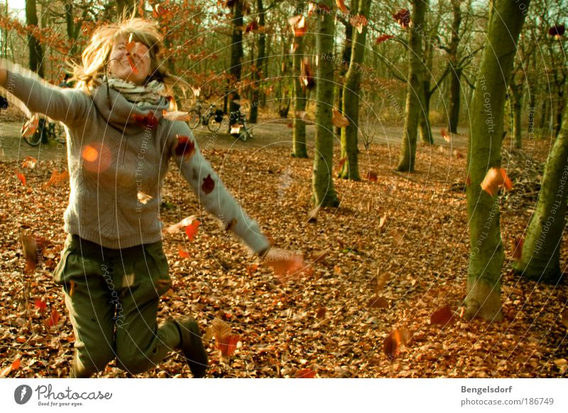leaf fight Life Harmonious Well-being Contentment Leisure and hobbies Playing Vacation & Travel Trip Far-off places Freedom Human being Young woman