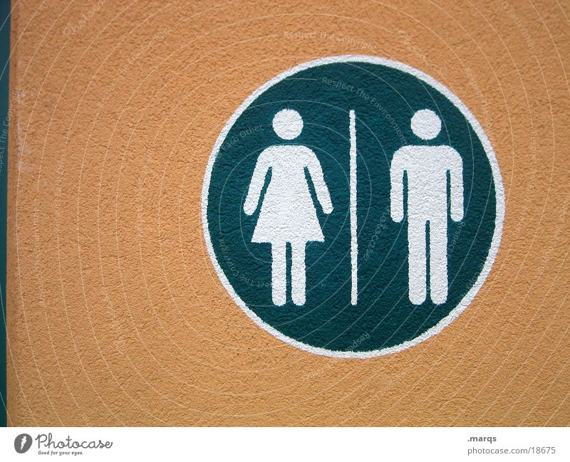 Fe|male Feminine Masculine Woman Man Green White Pictogram Cleaning Urinate Round Human being Communicate Signage Toilet sanitation facilities Orange
