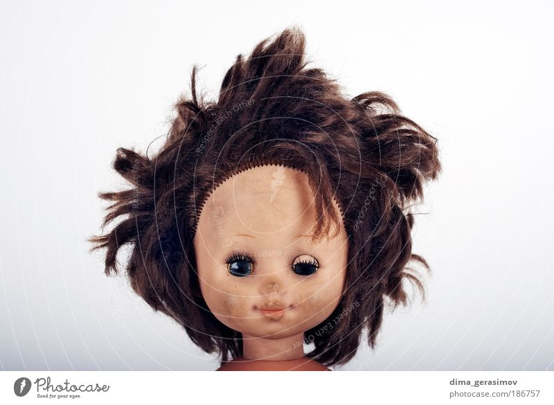 Face 1 Girl Woman Adults Head Human being Toys Doll Smiling Laughter Make Aggression Cool (slang) Friendliness Creepy Cute Stress Whimsical toy hair eyes