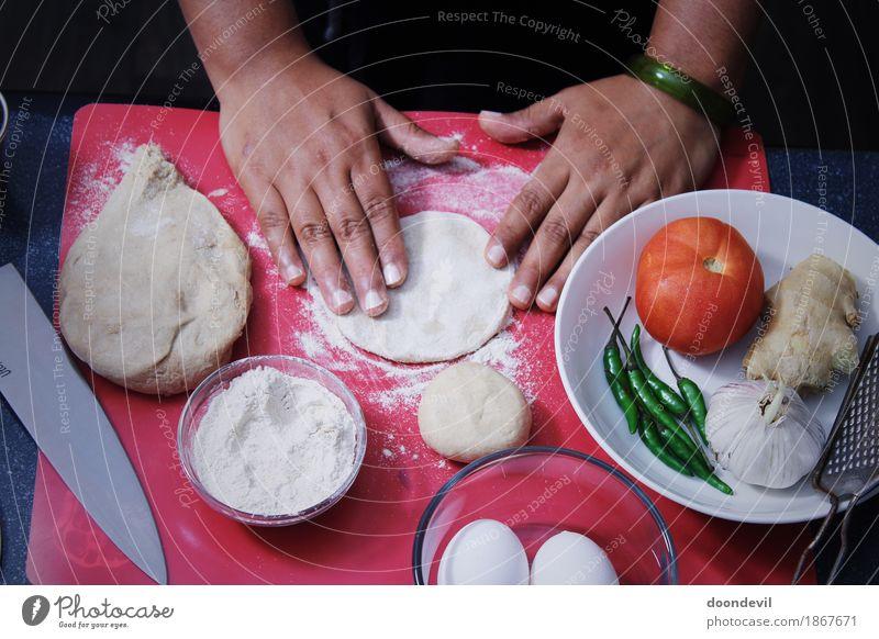 baking and preparing dinner Dinner Knives Cook Hand Fingers Cooking Baking Preparation Food Vegetarian diet Vegetable dish Colour photo Interior shot