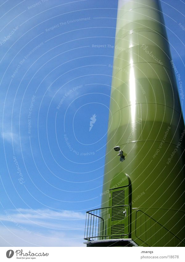 Sky Green Blue Door Industry Stairs Wind energy plant Handrail Electricity pylon Color gradient