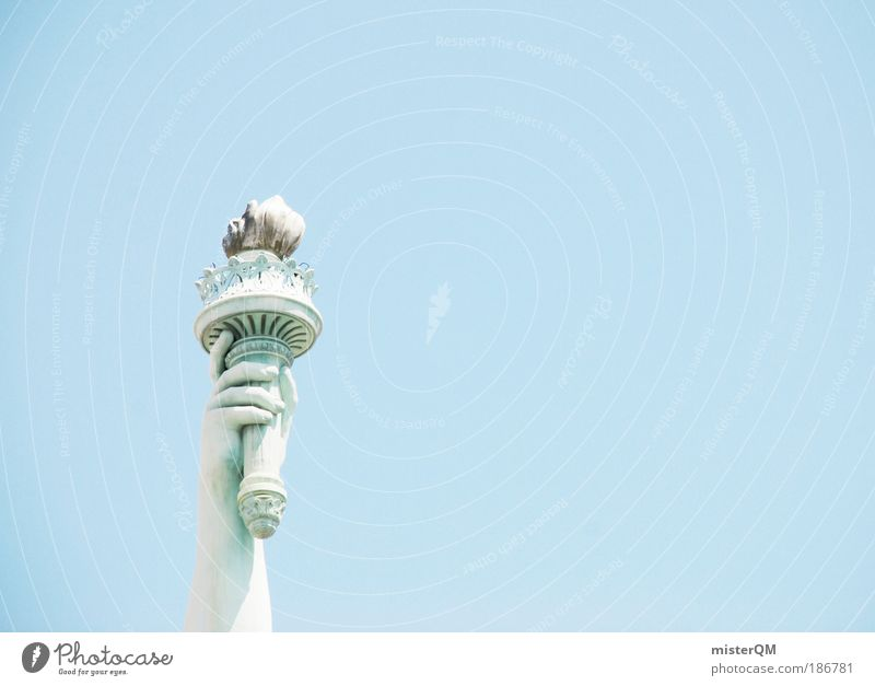 One scoop of ice, please. Sky Sign Esthetic Freedom Statue of Liberty USA Americas Ice Blue sky Symbolism Vacation & Travel New York City Wanderlust