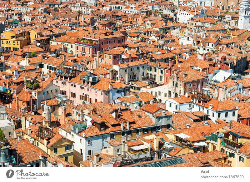 Venice roofs from above Vacation & Travel Old Summer Town White Landscape Red House (Residential Structure) Architecture Yellow Building Tourism Orange Pink