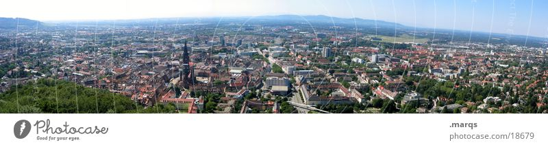 Freiburg in the Panorama Mountain castle Summer Residential area Populated Quarter Germany Bird's-eye view Wide angle Europe Panorama (View) Münster Old town