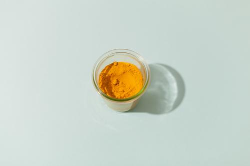 turmeric Food Herbs and spices Curcuma Nutrition Eating Asian Food Bowl Healthy Eating Delicious Blue Yellow Powder Colour photo Interior shot Studio shot