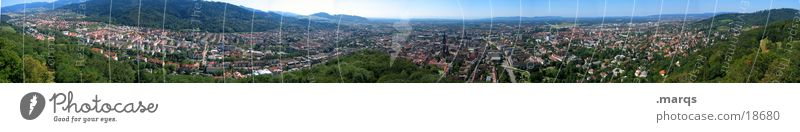 270° Freiburg Mountain castle Quarter Stadium Brewery Summer Germany Bird's-eye view Wide angle Europe Panorama (View) Münster Old town Train station